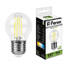 Лампа светодиодная филаментная Feron E27 5W 4000K Шар Прозрачная LB-61 25582