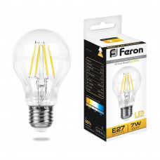 Лампа светодиодная филаментная Feron E27 7W 2700K Шар Прозрачная LB-57 25569