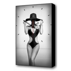 Настенные часы (37х60 см) Женщина в шляпе BL-2302 Brilliant