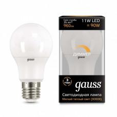 Лампа светодиодная диммируемая Gauss 1025 E27 11Вт 3000K 102502111-D